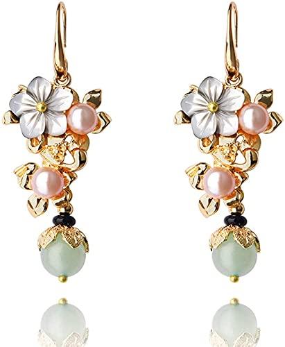 Cakunmik Pendientes de Perlas de Flores Piedra de Piedras Preciosas Naturales Colgante con Serie de Oro 14K de la Serie de Temperamento joyería Hecha a Mano