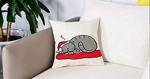 Pillowcase,Cuscini da Letto,Natale, gatto con cappello di Babbo Natale Baffi sul cuscino Winter Night Cartoon Artwork, MultiCuscini Per Copricuscini Divano Caso Federa Home Decorativi 45x45 Cm