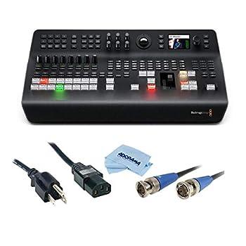Blackmagic Design ATEM Television Studio Pro 4K UHD Live Production Switcher 8X 12G-SDI Inputs - Bundle with 6  Standard PC Power Cord 18/3 SVT HD 3G-SDI BNC to BNC Cable 25  Microfiber Cloth