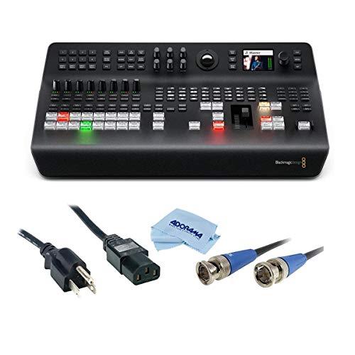 Blackmagic Design ATEM Television Studio Pro 4K UHD Live Production Switcher, 8X 12G-SDI Inputs - Bundle with 6' Standard PC Power Cord 18/3 SVT, HD 3G-SDI BNC to BNC Cable, 25', Microfiber Cloth