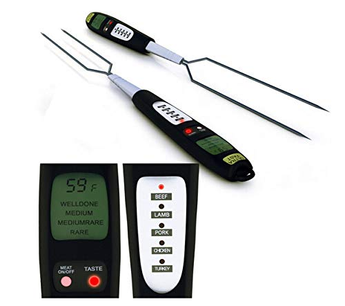 CAOASIS Meat Thermometer Fork, Multifunctional Digital BBQ Long Fork with Ready Alarm Instant Read LED Screen, 0℃-300℃/32℉-572℉ Kitchen Probe Best for Cooking, Outdoor Barbecue and Grilling
