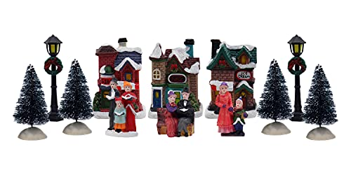 12 Piece Christmas Village Tabletop Decorations Christmas Houses, Christmas Trees, Street Light Poles & Figurines Perfect Centerpiece to your Christmas Indoor Decorations & Snow Village Displays