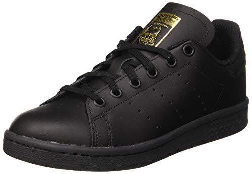 adidas Stan Smith J, Scarpe da Ginnastica Unisex-Bambini, Core Black/Core Black/Gold Met, 37 1/3 EU