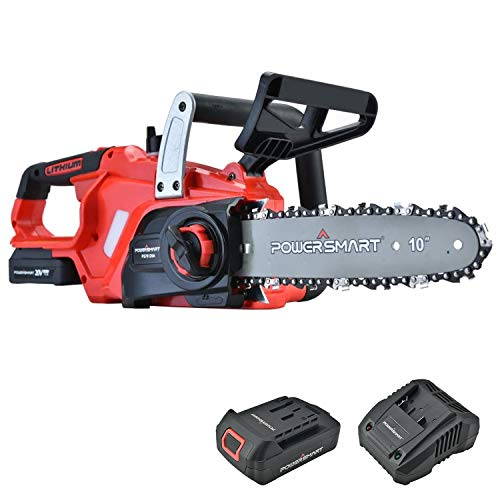 PowerSmart Chainsaw 10Inch 20V Cordless Chainsaw Power Chainsaw Electric Chainsaw Battery Powered 20V Battery amp Fast Charger Included PS76120A
