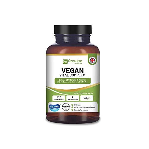 Vegan Vital - Multivitaminkomplex 120 kapslar - Formulering av vitaminer och mineraler för att stödja en växtbaserad diet med Aquamin-kalcium, vitamin B12, vitamin B2, vitamin D3, selen, jod, järn, fosfat och zink