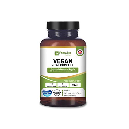 Vegan Vital Complex 120 Capsules - Vitamins and Minerals Formulation to Support a Plant Based Diet with Aquamin Calcium, Vitamin B12, Vitamin B2,Vitamin D3, Selenium, Iodine, Iron, Phosphate and Zinc