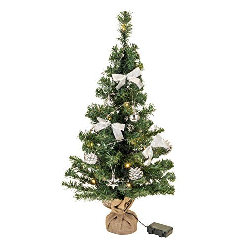 Bambelaa! Weihnachtsbaum Künstlich Mit Beleuchtung Geschmückt Tannenbaum Dekoriert Christbaum Beleuchtet LED 75cm Silber