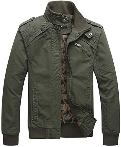 AlvaLynd Men's Long Sleeve Jacket Autumn Winter Clothing Casual Pocket Jacket Stitching Slim Standing Collar Outwear Coat Jacket