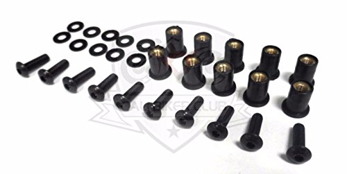 Motorcycle Windscreen Bolt Kit Windshield Stainless Steel Black Screws Well Nuts Washers - Black 10 Pack