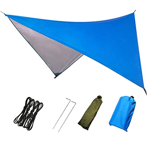 "Camping Tarp Waterproof,Hammock Rain Fly,Outdoor Moistureproof Picnic Mat,Multifunction Tent Footprints with Drawstring Carrying Bag-Light Weight-Essential Survival Gear,Beach,Shading,Hiking-91"" x 83"""