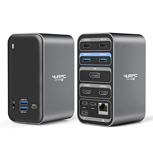 USB C Dual Monitor Docking Station for MacBook Pro Air, 4K USB C Laptop Dock 13 Ports Laptop Docking Station for MacBook Pro Air Thunderbolt 3 USB C Dock(2 4KHDMI DP 100W PD3.0 RJ45 6USB USB-C Audio)