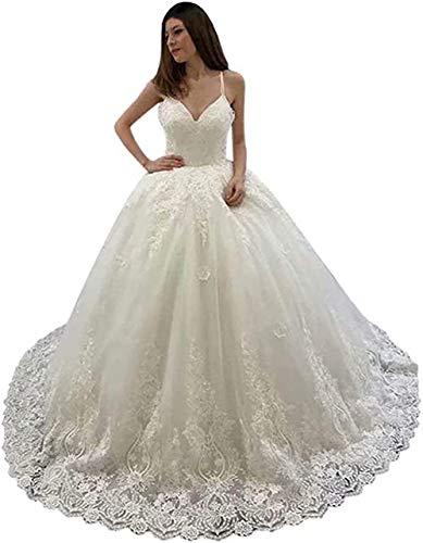 Spitzen-Brautkleid, V-Ausschnitt, Spaghettiträger, Ballkleid, Hochzeitskleid, Braut mit Zug Prinzessin -  Elfenbein -  56 Mehr