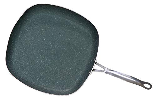 OrGREENiC Diamond Granite 9.5 Inch Square Fry Pan with Non-stick Ceramic Coating, Fry Skillet, Saute Pans (9.5 inch square, No Lid)