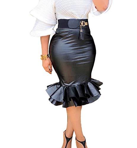 OUFour Verano Mujeres Falda por la Rodilla Cuero Faldas Sexy Paquete de Cadera Pescado Falda de Partido Fiesta Cóctel