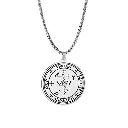 Amaxer Stainless Steel Amulet Necklace Sigil of 7th Archangel Michael Saday Athanatos Sabaoth Cross Talisman Pendant Necklace for Unisex (Silver)