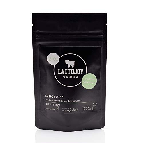LactoJoy Comprimés de Lactase I Combat l'Intolérance au Lactose I 240 Pcs. RECHARGE de Dose Extra-Forte (14 500 FCC) I 100% Végétale I Favorise la Digestion du Lactose I Sans Produits Chimiques