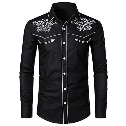 Luckycat Camisas Casual Hombre Camisa de Hombre Manga Larga Negocio Ajustado Botón Formal Retro Bordado Impresión Blusa Tops Camiseta para Hombre Camisa Slim Fit Business
