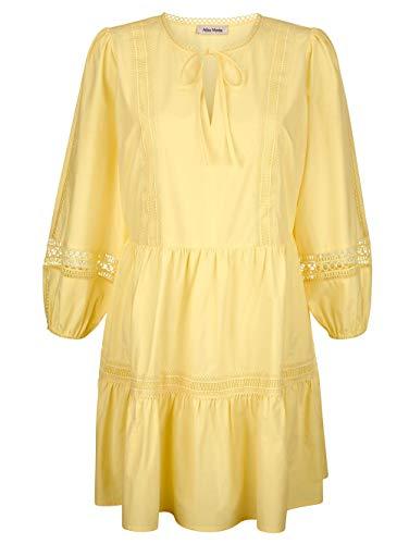 Alba Moda Strandtunika Langarm in Gelb aus Baumwolle mit Spitze abgesetzt