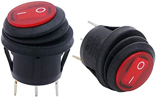 Taiss / 2Pcs Kippschalter 12V SPST 3 Stifte EIN/AUS Wasserdichtes rundes Wippschalter mit rote LED-Licht, Für Autos und Boote KCD1-5-101NW-R