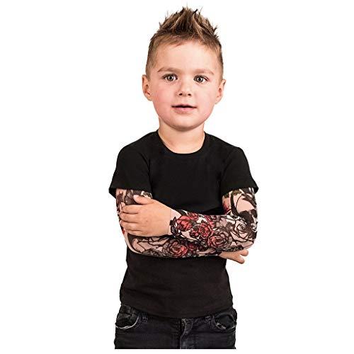 MKLEUTPS Baby Kleinkind Boy Tattoo Print Langarm Strampler Jumpsuit Jungen Bodysuit Baumwoll T-Shirt Muster Beiläufiges Lange Ärmel Tops