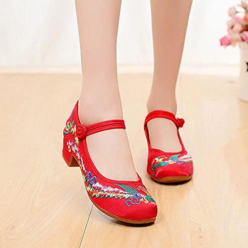SGADSH Phoenix Bordado Mujer Lienzo Bloque Zapatos de tacón de tacón Mono Correa Elegante Ladies Retro Cheongsam Bombas emparejadas Zapatos Casuales para Mujeres (Color : Red, Size : 37 EU)