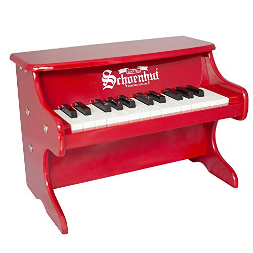 Schoenhut My First Piano For Kids - 25 Keys Red Mini Keyboard Piano - Baby Musical Instruments Promote Hand-Eye Coordination - 25 Baby Keys with Removable Color Strip - Ideal Kids Piano for Gift
