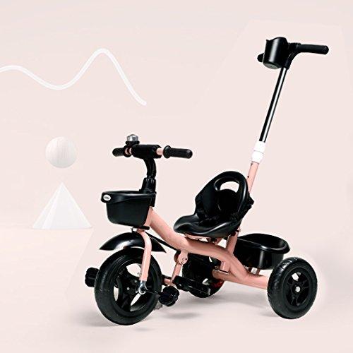 LiuQ Opvouwbare kinderwagen Creative afneembare in hoogte verstelbare duwstang kinderen driewieler, 18 maanden - 6 jaar oud jongens & meisjes baby trolley, kinderpedaal trike fiets lichtgewicht constructie