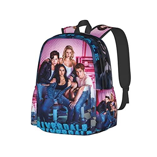 Mochila escolar unisex con impresión 3d Ri_Ver-Da1e Póster divertido senderismo mochila de viaje portátil, Black2, Talla única