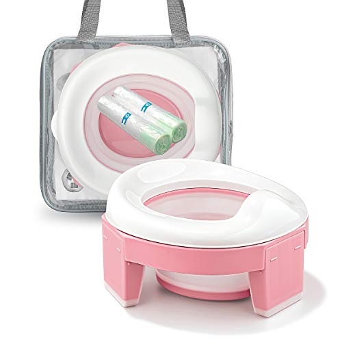 MCGMITT Portable Potty Seat for Kids Travel - Foldable Training Toilet Chair for Toddler Girls with Storage Bags (Pink)