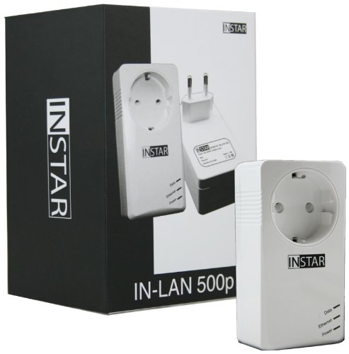 INSTAR Mini Powerline Adapter met adapter en stopcontact met stekkerdoos Einzeln wit