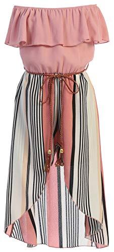 BluNight Collection Big Girls 2 Ways Ruffle Hi Lo Maxi Skirt Romper Belt Jumpsuit Romper USA Rose 12 (2J1K42S)