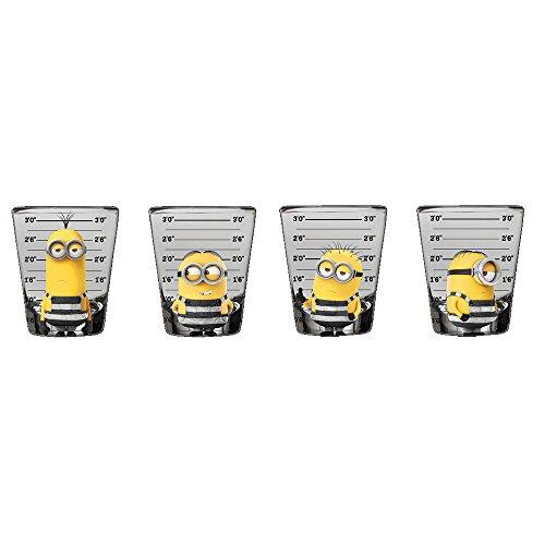 Silver Buffalo Despicable Me Minions Mugshot Shot, 1 oz. (4 Pack) Mini Glass Set, Multicolor