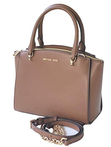 Ellis Small Convertible Leather Satchel Crossbody Bag in Luggage Brown Leather and Golden Trim. 3 Separate compartments to easily organize your daily essentials Total of 3 compartments including center zip closure with 2 slip pockets and a zipper poc...