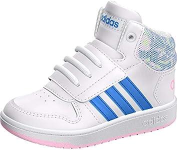 Adidas Hoops Mid 2.0 I, Zapatillas de Estar por casa Unisex niños, Multicolor (Ftwbla/Azurea/Ros Cl A 000), 21 EU