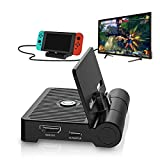 Foldable Switch HDMI Dock, Switch HDMI Docking Station, Portable TV Dock for Switch with Screen Switch Button, USB C Power Input and USB 3.0 Port