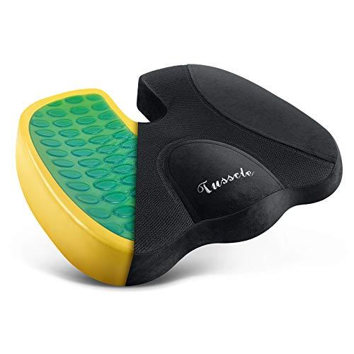 Tusscle Sizkissen für Bürostuhl, Memory Foam Stuhlkissen, Gel-Kissen für Stuhl, Auto und Rollstuhl, Verfügbares Gewicht bis zu 80 kg