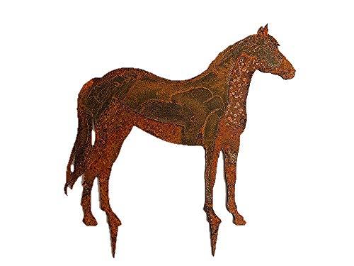 Gartenstecker Pferd im Rost Design - Rostfigur für den Garten, Geschenk für Reiter