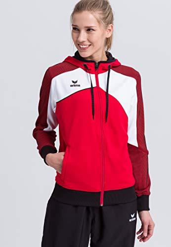 ERIMA Damen Jacke Premium One 2.0 Trainingsjacke mit Kapuze, rot/weiß/schwarz, 38, 1071826