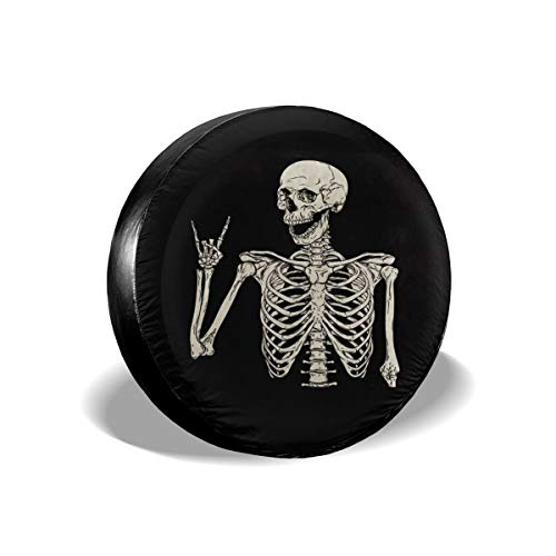 Ouqiuwa Spare Tire Cover Rock and Roll Skeleton Skull Boho Hippie Universal Wheel Covers for Jeep Trailer RV SUV 14 Inch for Diameter 23-27 Inch