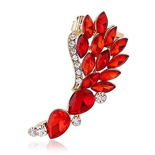 Aretes Etnicos Red Big Zircon Ear Cuff Hermosa Pluma Ala Rhinestones Cola De Phoenix Crystal Clip Pendiente Ear Cuff Wrap Stud Clip PendientesOreja Derecha-Oro