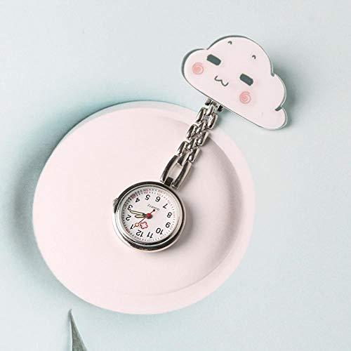 Reloj de Enfermera de Silicona,Reloj de Bolsillo con Clip de Enfermera, Reloj de Pecho Impermeable Lindo de Dibujos animados-01,Enfermera Reloj