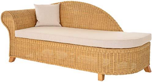Krines Home Rattan Recamiere Elegance Rattanliege Chaiselounge Lounge Liege mit Polster (Honig, Links)
