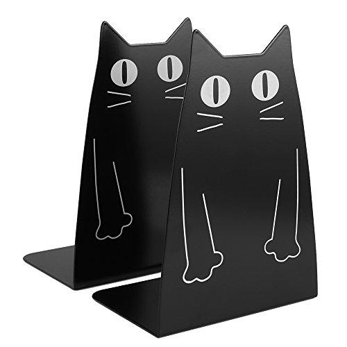 1ペアのかわいい猫の黒い金属のブックエンド、大型の頑丈なブックエンド、学校、図書館、棚、オフィスの子供のための装飾的なファッションスタイルのブックエンド