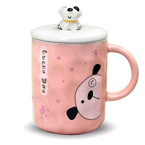 Notrefly Dog Mug With Lid And 3D Novelty Puppy Head Stainless Steel Spoon Ceramic Funny Dog Coffee Mug, Dog Tea Cup Gift For Dog Lovers Women And Men, Pink,11oz