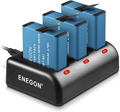 Baterías de Reemplazo ENEGON Gopro Hero 8/7/6/5 de 1220mAh (3 Puertos de...