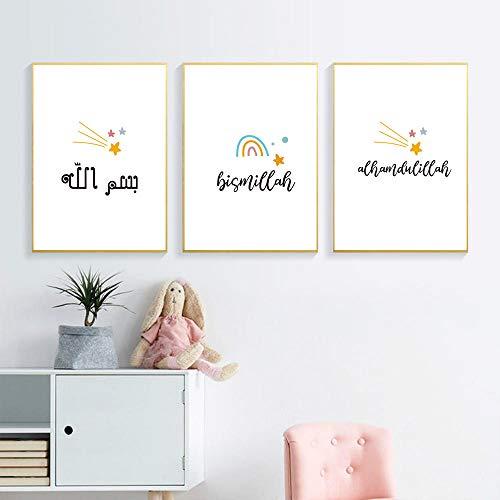 IGZAKER Arabisch alfabet Baby Poster Rainbow Star Art Prints kwekerij Wall Decor islamitische Canvas Wall Art schilderij foto's voor de kinderkamer-60x80cmx3pcs geen frame