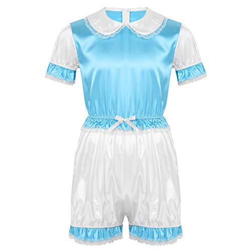 IEFIEL Camisón Sissy para Hombre Pijama Suave Mono Corto Ropa de Dormir Conjunto de Lencería Cosplay Sexy Crossdresser Azul Large
