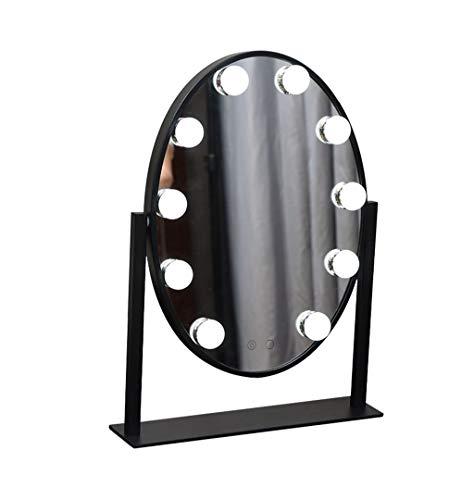 TYHZ Espejo Maquillaje Espejo de Maquillaje, Espejo de vanidad Ovalado con 10 Luces LED Bombillas Kit Iluminado como Espejo de Maquillaje Espejo de Afeitado para mesas de vestidor Espejo De Mesa