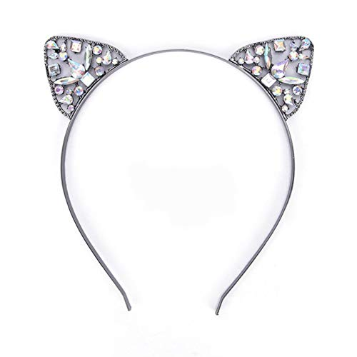XHJLNNY XINHEJULN 1pcs Silver Golden Black Cat Ears, Girl Hair Band Headband Headband Rhinestone Headband Hair Accessories Exquisite and applicable (Color : Black)