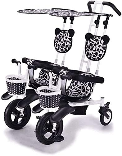 DUWEN Cochecito portátil Plegable, Camiones cochecitos Twin Tricycle Stroller Double Baby Bycycle Bicycle Cinco Modos Gratis con 3 Puntos Protección de Seguridad Bebé Carruaje Bebé